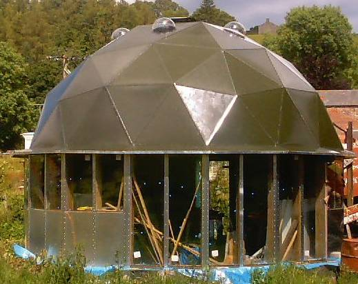 How i built my stressed skin geodesic dome for Stress skin panels cost
