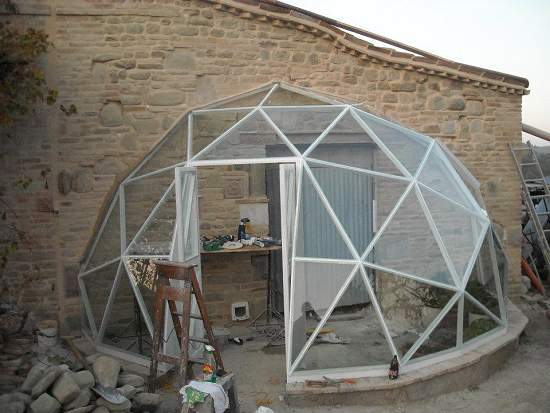 Pictures of domes built using the geo dome plans for Geothermal house plans